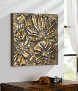 Metall Bild 'Blumen? bronze gold Wand Deko Schmuck Hänger Dekoration Verzierung