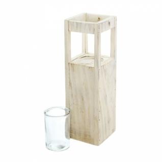 Windlicht Säule 'Shabby-Charme? klein aus Holz & Glas Kerzen Halter Ständer Deko - Vorschau 3