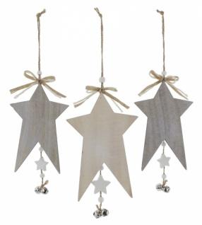 Stern Weihnachten.3er Sternen Hänger Glöckchen Aus Holz Deko Stern Weihnachten Weihnachtsstern