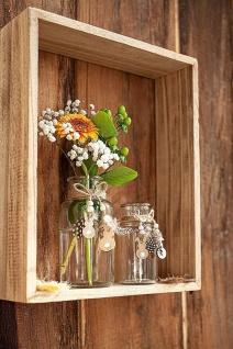 2 Glas Vasen mit Holz Hase, Perlen & Federn, klar, Tisch Deko Flasche Ostern