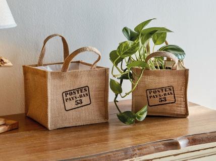 2x Pflanz Tasche aus Jute, Blumen Topf, Pflanz Schale, Korb Pflanzer