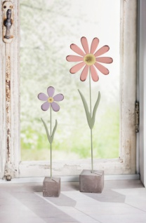 2er Set Blume 'Flower? aus Metall Blume Blüte Deko Blumen Tisch Fenster Objekt