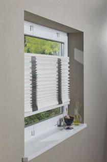 Plissee Rollo 90x130 weiß grau Klemmfix ohne Bohren, Falt Store Jalousie Fenster