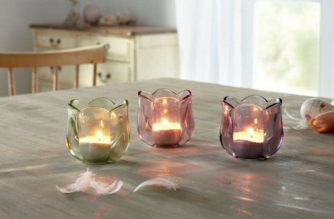 """3er Set Windlicht ?Blüte"""" aus Glas Kerzen Ständer Teelicht Halter Laterne Deko"""