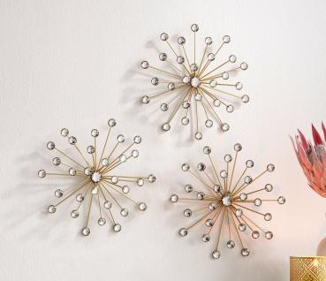 """3D Wand Deko """" Kristall-Blüte"""" Metall gold & Glas Steine, Schmuck Blumen Sterne"""