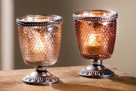 """2er Set Windlicht """" Kelch"""" Glas & Metall, Teelicht & Kerzen Halter, orientalisch"""