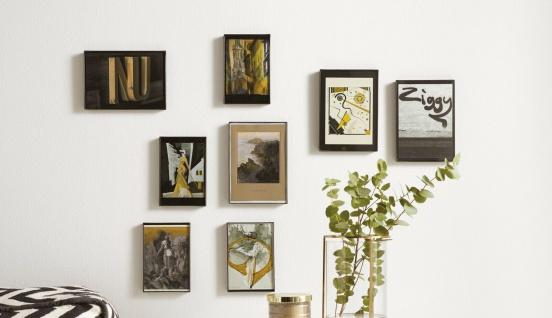 8x Bilder Rahmen schwarz 4x 10x15 + 4x 13x18 zum Stellen & Hängen, Foto Collage