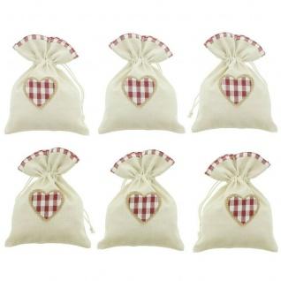 """6er Geschenk Beutel ?Landhaus"""" Karo Textil Tasche Weihnachten Weichnachtsbeutel"""