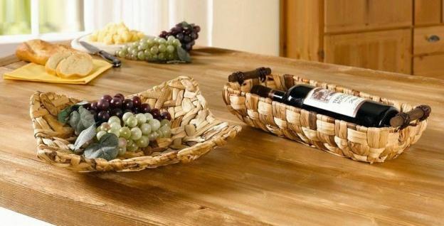 Schale aus Wasserhyazinthe, 31x31 cm, Obst Gebäck Deko Brot Aufbewahrungs Korb