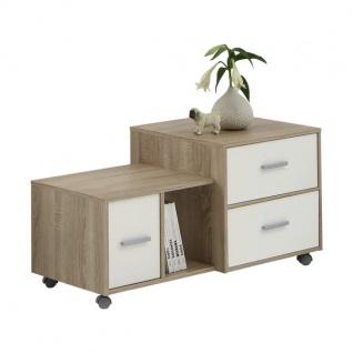 FMD Beistell Tisch / Schrank MIA auf Rollen 3 Schubladen eiche / weiß, Roll Büro