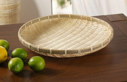 """Bambus Schale ?Groß"""" rund Ø 35 cm Obst Gebäck Brot Deko Tisch Servier Teller"""