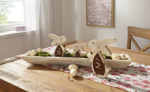 3 tlg. Hasen Familie aus Holz, 10 15 & 20 cm hoch, Oster Deko Figur Hase