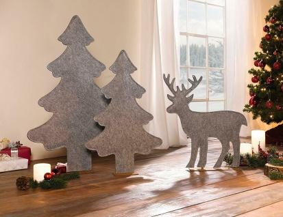 2er Set Deko Tanne aus Filz, grau, 82 + 63 cm hoch, Tannen Weihnachts Baum