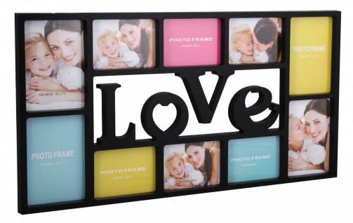 """WL Wohnling Bilder Rahmen """" Love"""" schwarz für 10 Fotos Multi Collage Wand Galerie"""