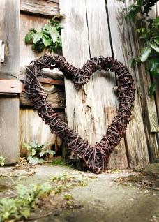 großes Deko Herz aus Naturweide, rustikal, 55x60 cm Garten Wand Tür Tisch Kranz