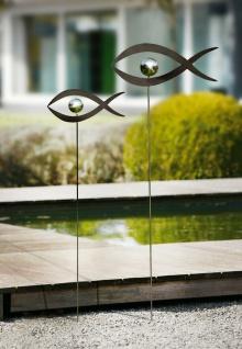 "2er Set Metall Stecker ?Kugelfisch"" Garten Blumen Deko Sticker Figur Fisch"