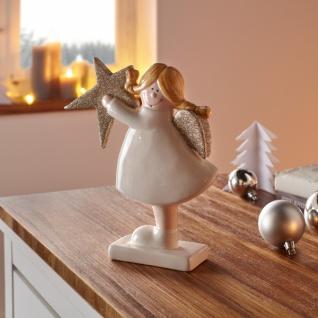 3er Figur Engel mit Glitzerstern Deko Statue Skulptur Weihnachten Weihnachtsdeko