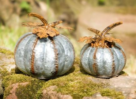 2x Kürbis aus Metall, silber + Rost, Halloween Herbst Deko Figur Obst