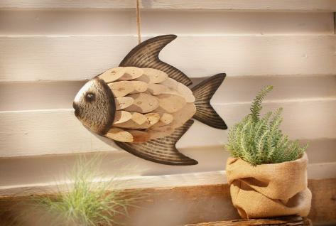 """Hänger ??Fisch"""" aus Holz & Metall braun Deko Wand Tür Fenster Mobile Verzierung"""