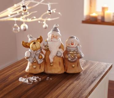 3er Figur 'Weihnachtstrio? Weihnachtsmann Weihnachtsdeko Nikolaus Schneemann