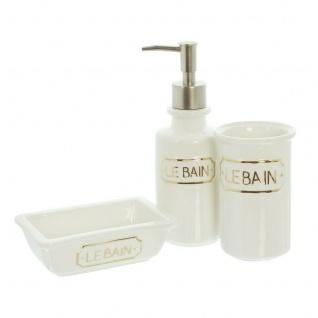 "3tlg Bad Set ?Le Bain"" aus Porzellan Seifen Lotion Spender Zahnputzbecher Schale"