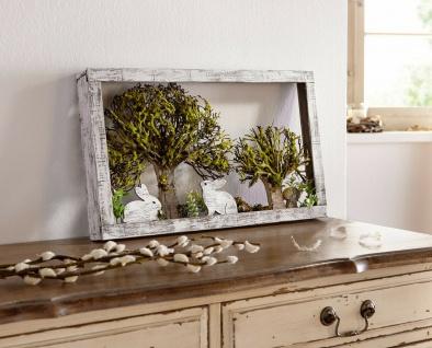 "Deko Bild ?Hasenzeit"" aus Holz 50 x 5 x 30 cm Szene Figur Skulptur Wand Schmuck"