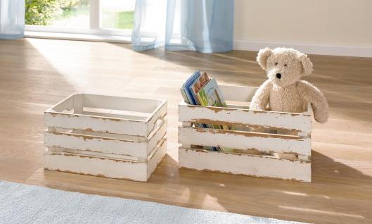 2er Set Aufbewahrungs Kiste, Holz, weiß, Shabby Look, Wein Box Korb Regal Stiege