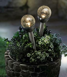 """2x LED Solar Glas Leuchte """" Kristall"""" Garten Lampe Weg Beleuchtung Beet Stecker"""