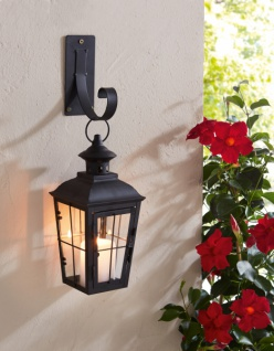 Laterne 'Chateau? aus Metall mit Wand Haken, Windlicht Kerzen Halter Deko Hänger