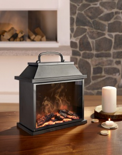 LED Laterne 'Kamin? Stand Elektro Ofen Kamin Wärme Feuer mit Flammeneffekt