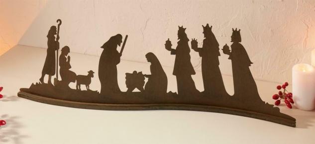 Metall Weihnachts Deko 67 cm, Rost Optik, Jesus Maria Josef Könige Hirte Lamm