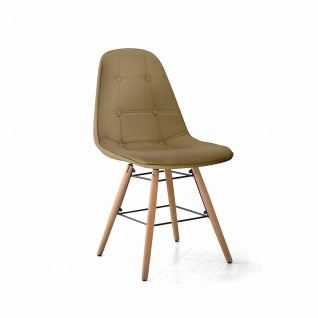 TUONI 2er Set Design Stühle PATTY, PU Leder cappucino, Küchen Esszimmer Stuhl #2