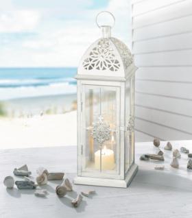 "Metall Laterne "" Barock"" weiß / silber, Garten Windlicht Kerzen Halter Lampe"