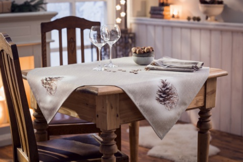 Tischdecke 'Pinienzapfen? 85x85 cm Tisch Deko Band Läufer Weihnachten
