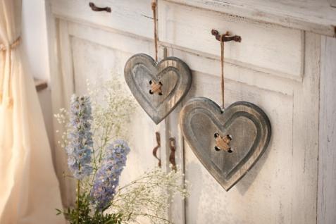 """2er Set Herz Hänger """" Knopf"""" aus Holz, grau, Nostalgie Hochzeit Deko romantisch"""