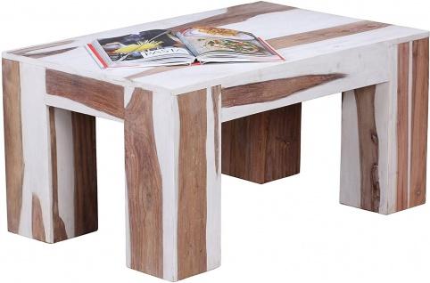 WL Wohnling Couchtisch massiv Sheesham Holz / weiß gekalkt, Beistell Tisch