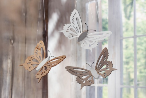 3er Deko Schmetterling 'Natur? aus Holz Hänger Tür Wand Fenster Deko Butterfly
