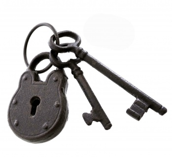 Deko Vorhänge Schloss aus Gusseisen + 2 Schlüssel, Antik Design, Nostalgie