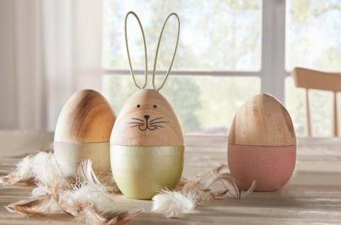 3 Oster Eier aus Holz, 1 mit Hasen Ohren, 8 / 14 cm hoch, Deko Figuren Set