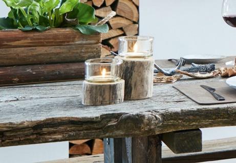 """Windlicht """" Rustikal"""" aus Holz & Glas 2er Set Tisch Deko Teelicht Säule Ständer"""