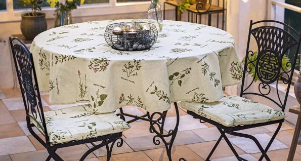 3tlg Textil Set Tisch Decke & 2 Stuhl Sitz Kissen Beige mit Retro Kräuter Design