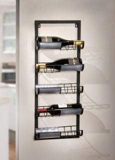 """Wein Regal """" Industrial"""" aus Metall schwarz, für 5 Flaschen, Hänge Wand Halter"""