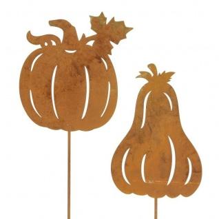 "2er Garten Stecker ?Kürbis"" Metall Rostoptik Blumen Deko Dekoration Halloween"