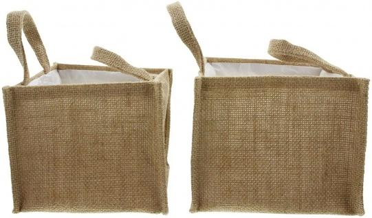 2x Pflanz Tasche aus Jute, Blumen Topf, Pflanz Schale, Korb Pflanzer - Vorschau 3