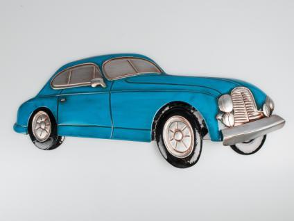 "Wand Relief "" Auto"" 72x45 Metall blau Nostalgie Deko PKW Bild Schmuck Geschenk"