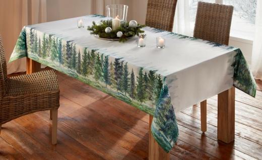 """Tafel Decke """" Tannenwald"""" 140x240 cm creme mit grünem Winter Motiv, Tisch Tuch"""