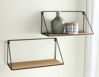 """2x Wand Regal """" Puro"""" aus Holz mit Metall Wand Halterung, Hänge Board Brett"""