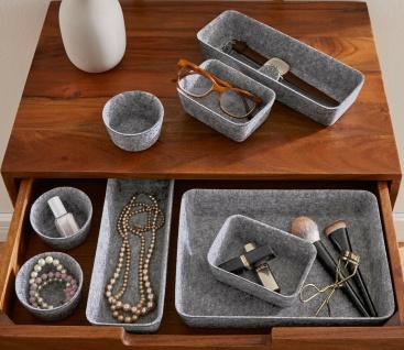 8er Set Filz Schale grau 3 & 5 cm hoch, Schubladen Aufbewahrung Schmuck Stifte