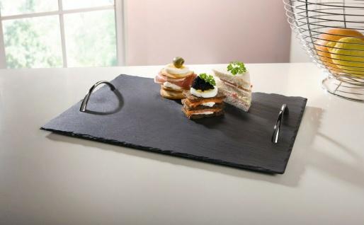 Tablett aus Schiefer, 35x25 cm, mit Metall Griffen, Buffet Servier Platte