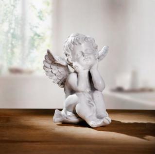 Deko Engel 'Uriel? aus Polyresin antik weiß Figur Skulptur Statue Engelsfigur